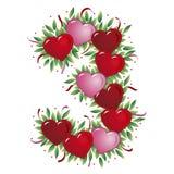 Número 3 - Corazón de la tarjeta del día de San Valentín Foto de archivo libre de regalías