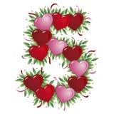 Número 5 - Corazón de la tarjeta del día de San Valentín Fotos de archivo