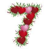 Número 7 - Corazón de la tarjeta del día de San Valentín Imagen de archivo libre de regalías