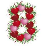 Número 8 - Corazón de la tarjeta del día de San Valentín Foto de archivo