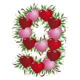 Número 9 - Corazón de la tarjeta del día de San Valentín Imagen de archivo libre de regalías
