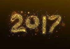 Número 2017 años Flash de oro del confeti Imágenes de archivo libres de regalías