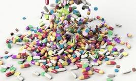 Número alto de comprimidos na superfície branca do fundo Imagem de alta resolução para a indústria farmacêutica fotos de stock royalty free