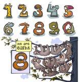 Número animal oito dos desenhos animados Fotografia de Stock Royalty Free