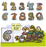 Número animal seis dos desenhos animados Fotografia de Stock
