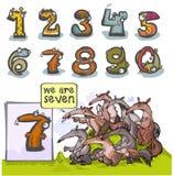 Número animal siete de la historieta Foto de archivo libre de regalías