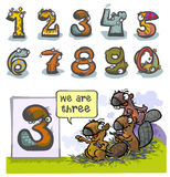 Número animal três dos desenhos animados Fotos de Stock