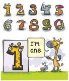 Número animal um dos desenhos animados Fotos de Stock