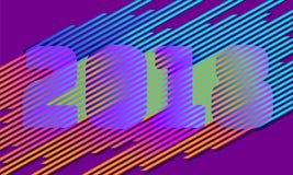Número brilhante do ano novo da listra 2018 Projeto na moda retro do estilo do disco Linha de cor de néon paralela Ilusão vibrant Foto de Stock