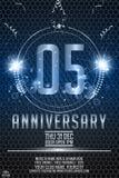número brilhante do metal da 5a celebração do aniversário dos anos, fitas e brilho da rotulação do metal ilustração royalty free