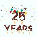 número 25 Cartão do feliz aniversario Imagem de Stock Royalty Free