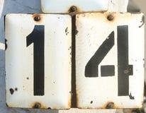 Número catorce en la placa del metall Foto de archivo libre de regalías