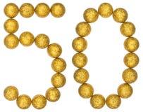 Número 50, cincuenta, de las bolas decorativas, aisladas en la parte posterior del blanco fotografía de archivo
