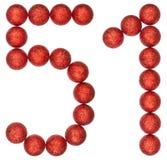 Número 51, cincuenta uno, de las bolas decorativas, aisladas en blanco Fotografía de archivo