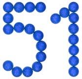 Número 51, cincuenta uno, de las bolas decorativas, aisladas en blanco Fotos de archivo libres de regalías