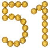 Número 51, cincuenta uno, de las bolas decorativas, aisladas en blanco Imagenes de archivo