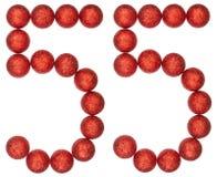 Número 55, cincuenta y cinco, de las bolas decorativas, aisladas en blanco Imagen de archivo