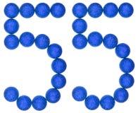 Número 55, cincuenta y cinco, de las bolas decorativas, aisladas en blanco Fotografía de archivo