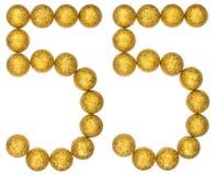 Número 55, cincuenta y cinco, de las bolas decorativas, aisladas en blanco Fotografía de archivo libre de regalías