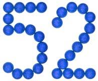 Número 52, cincuenta y dos, de las bolas decorativas, aisladas en blanco Fotografía de archivo libre de regalías