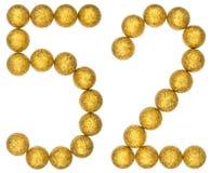 Número 52, cincuenta y dos, de las bolas decorativas, aisladas en blanco Fotos de archivo