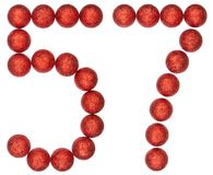 Número 57, cincuenta y siete, de las bolas decorativas, aisladas en pizca Imágenes de archivo libres de regalías