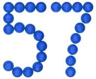 Número 57, cincuenta y siete, de las bolas decorativas, aisladas en pizca Foto de archivo libre de regalías