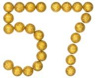 Número 57, cincuenta y siete, de las bolas decorativas, aisladas en pizca Foto de archivo