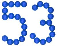 Número 53, cincuenta y tres, de las bolas decorativas, aisladas en pizca Imagen de archivo