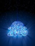 Número 2016 com a bola do azul do disco Imagens de Stock
