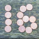 Número 16 com euro- moedas Imagens de Stock Royalty Free
