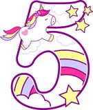 Número 5 com unicórnio bonito e arco-íris ilustração royalty free
