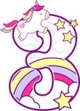 Número 3 com unicórnio bonito e arco-íris ilustração royalty free