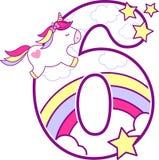 Número 6 com unicórnio bonito e arco-íris ilustração do vetor