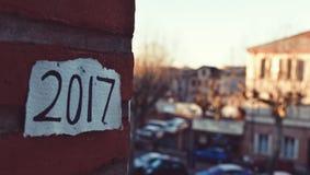 Número 2017, como el año del cortar Foto de archivo