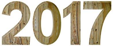 Número 2017 con un modelo abstracto de una superficie de madera, isola Foto de archivo libre de regalías