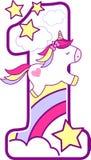 Número 1 con unicornio lindo y el arco iris libre illustration