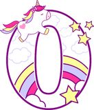 Número 0 con unicornio lindo y el arco iris stock de ilustración