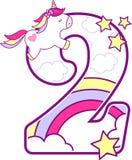 Número 2 con unicornio lindo y el arco iris stock de ilustración