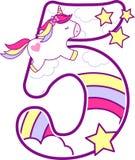 Número 5 con unicornio lindo y el arco iris libre illustration