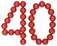 Número 40, cuarenta, de las bolas decorativas, aisladas en la parte posterior del blanco Foto de archivo libre de regalías