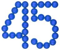 Número 45, cuarenta y cinco, de las bolas decorativas, aisladas en blanco Fotos de archivo libres de regalías