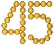 Número 45, cuarenta y cinco, de las bolas decorativas, aisladas en blanco Fotografía de archivo