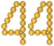 Número 44, cuarenta y cuatro, de las bolas decorativas, aisladas en blanco Imagenes de archivo