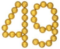 Número 49, cuarenta y nueve, de las bolas decorativas, aisladas en blanco Foto de archivo libre de regalías