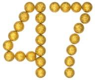 Número 47, cuarenta y siete, de las bolas decorativas, aisladas en pizca Fotografía de archivo