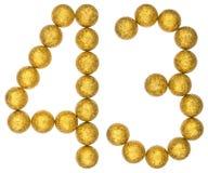Número 43, cuarenta y tres, de las bolas decorativas, aisladas en pizca Imágenes de archivo libres de regalías