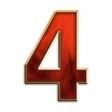 Número cuatro en rojo ardiente Fotos de archivo