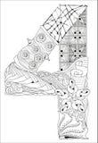 Número cuatro Zentangle Objeto decorativo del vector Stock de ilustración