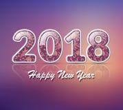Número 2018 Cumprimento azul do ano 2018 novo feliz ilustração stock